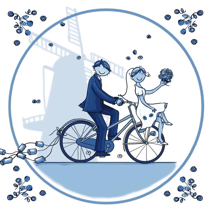 Trouwkaarten - Trouwkaart transportfiets delftsblauw