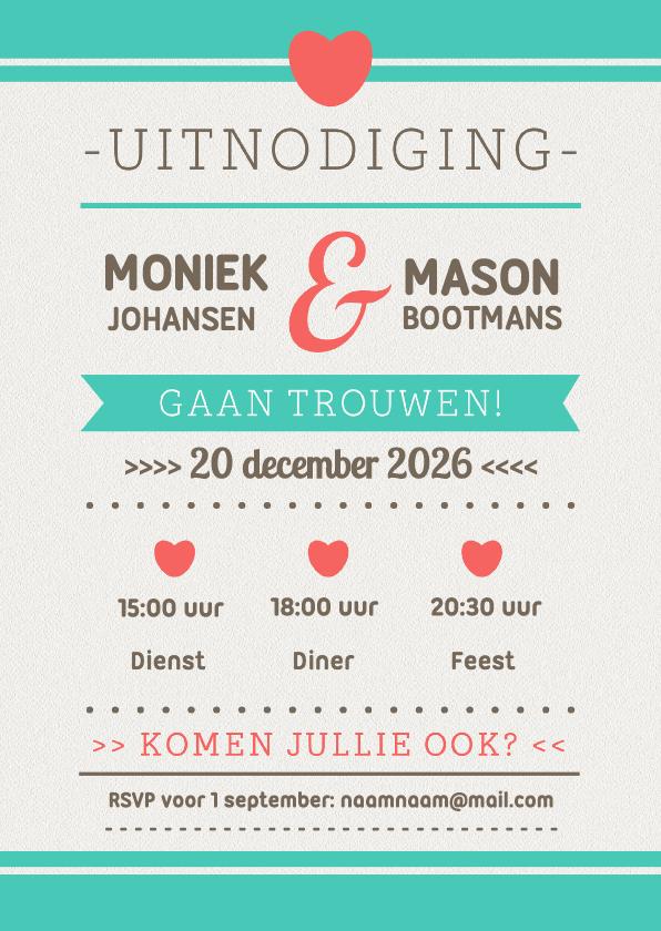 Trouwkaarten - Trouwkaart typografie modern -DH