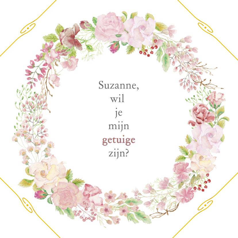 Trouwkaarten - Trouwkaart-uitnodiging getuige rozen