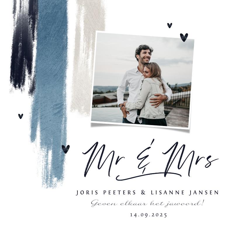 Trouwkaarten - Trouwkaart uitnodiging stijlvol blauw verf hartjes foto