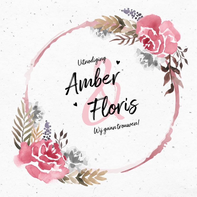 Trouwkaarten - Trouwkaart uitnodiging vintage bohemian  waterverf bloemen