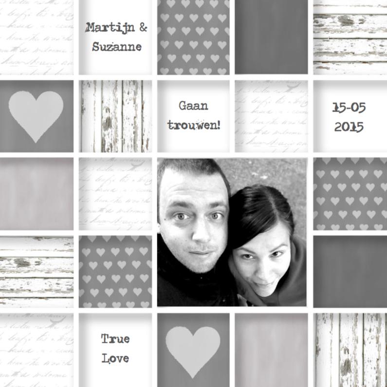 Trouwkaarten - Trouwkaart Vakjes Grey & White