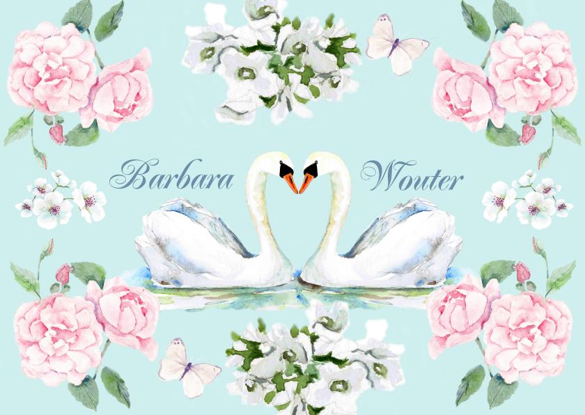 Trouwkaarten - Trouwkaart Verliefde zwanen