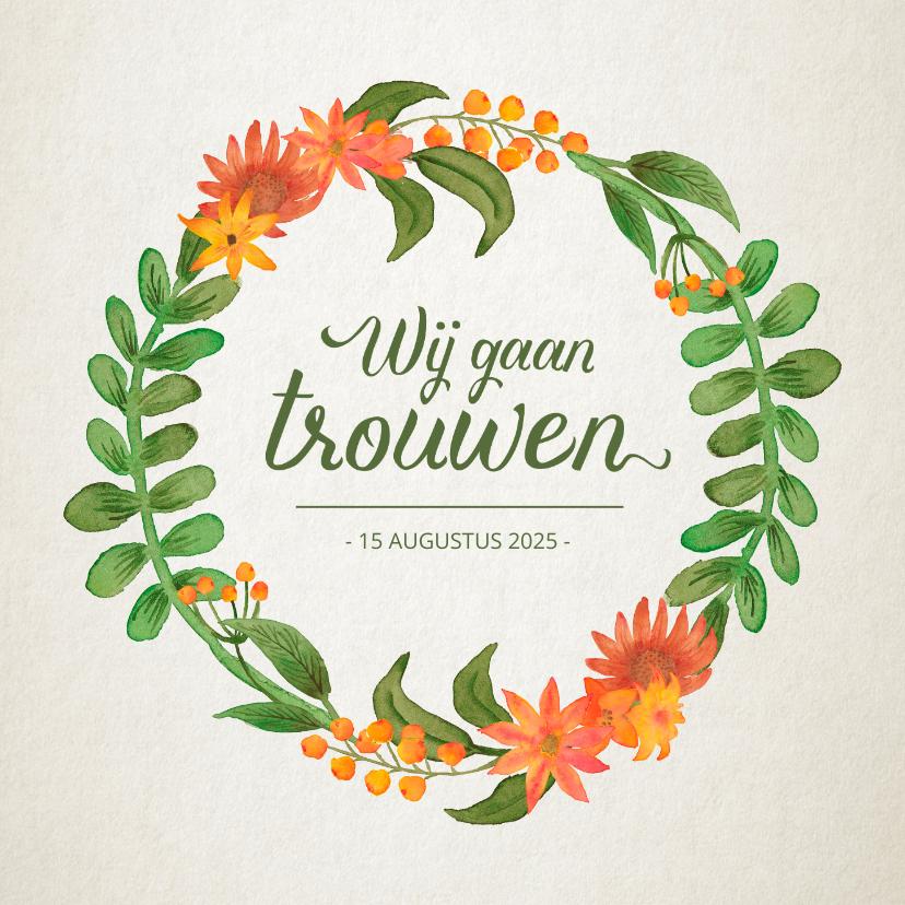 Trouwkaarten - Trouwkaart vintage bloemen