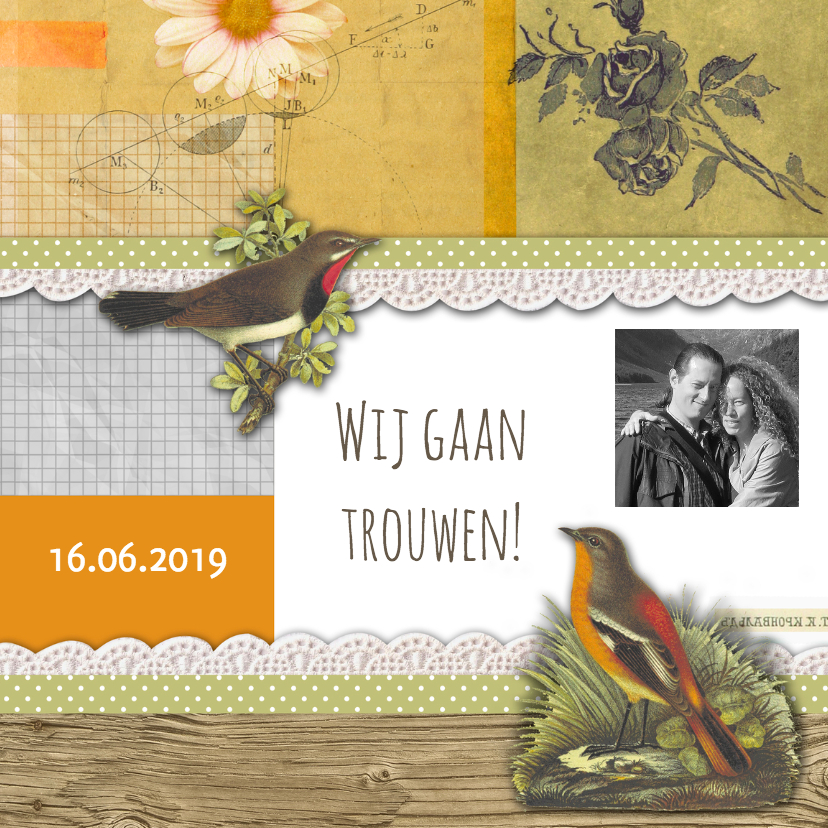 Trouwkaarten - Trouwkaart vintage collage-HR