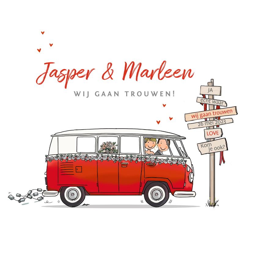 Trouwkaarten - Trouwkaart Volkswagen rood met bruidspaar