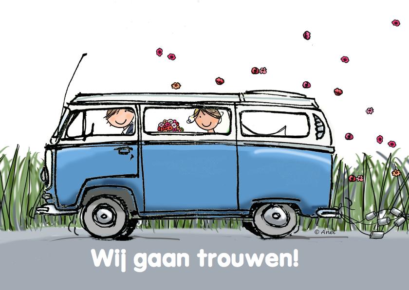 Trouwkaarten - Trouwkaart VW bus blauw