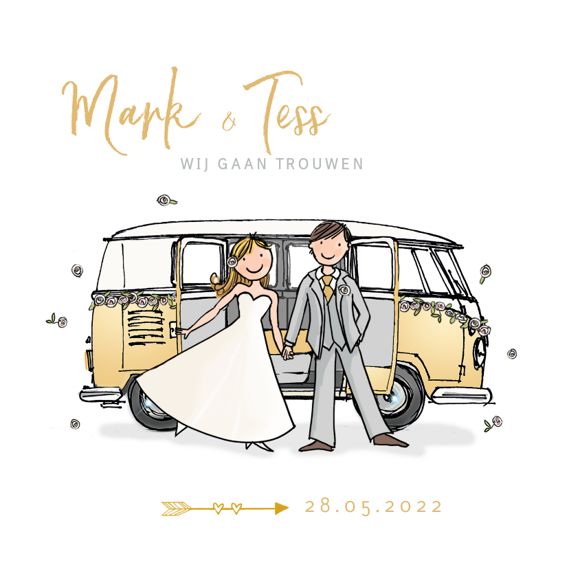 Trouwkaarten - Trouwkaart VW bus bruidspaar