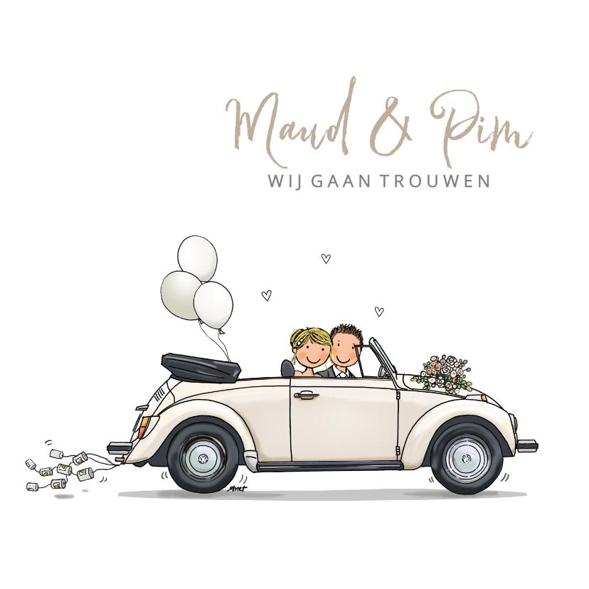 Trouwkaarten - Trouwkaart VW kever cabrio Anet Illustr