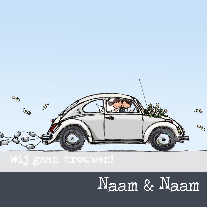Trouwkaarten - Trouwkaart VW kever wit Anet Illustrat