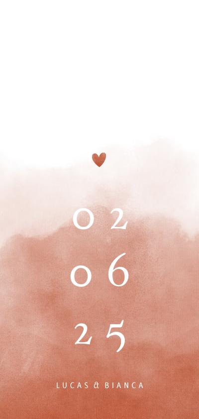 Trouwkaarten - Trouwkaart waterverf terra roze stijlvol met hartje