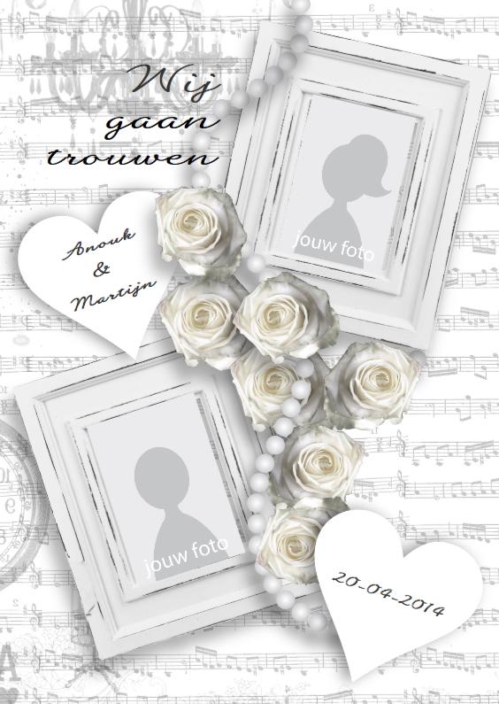 Trouwkaarten - Trouwkaart White Vintage