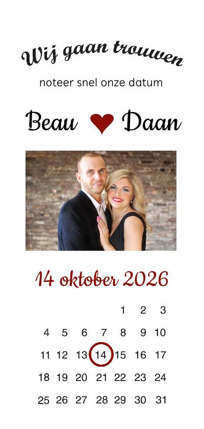 Trouwkaarten - Trouwkaart,  wij gaan trouwen met foto en kalender