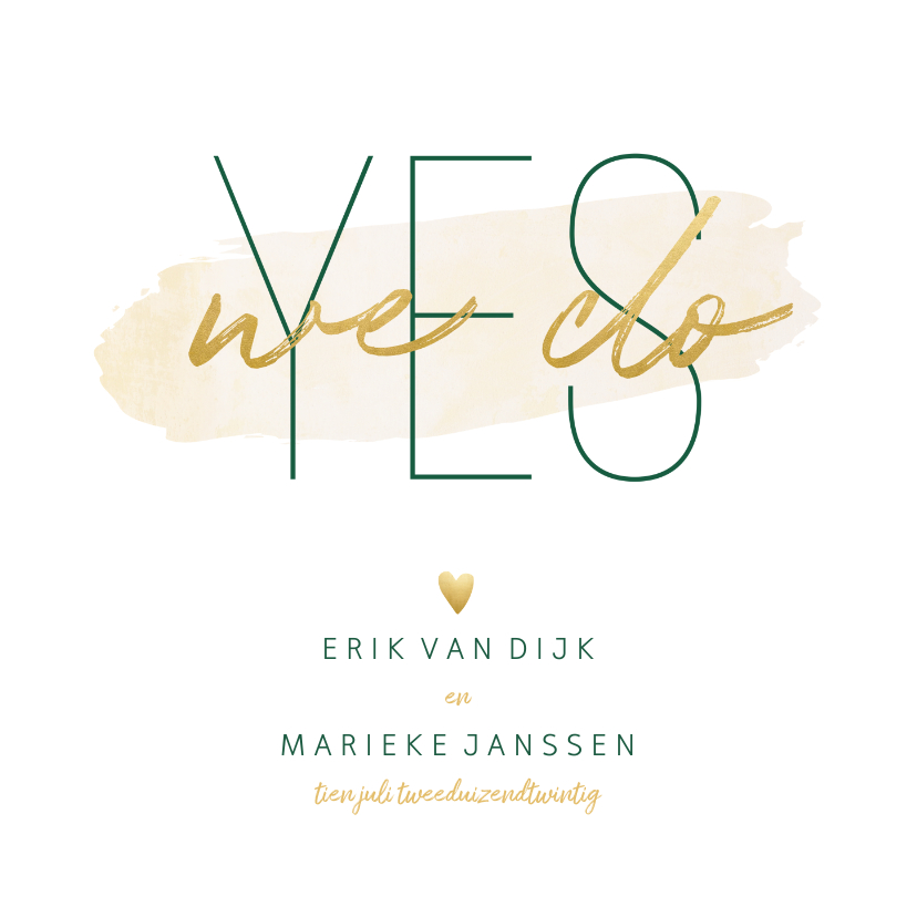 Trouwkaarten - Trouwkaart 'Yes we do' met goudlook en waterverf