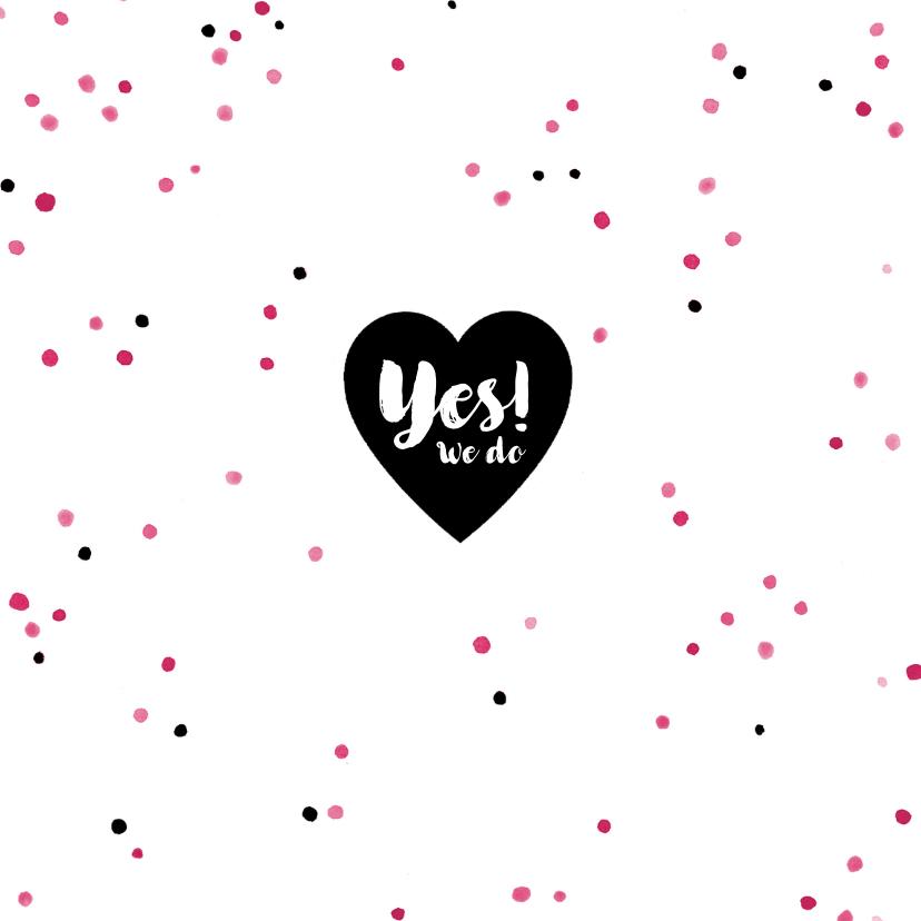 Trouwkaarten - Trouwkaart zwart-wit confetti