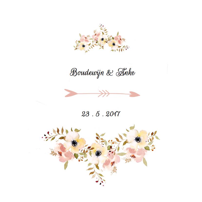 Trouwkaarten - Trouwkaarten Aquarel bloemen YO