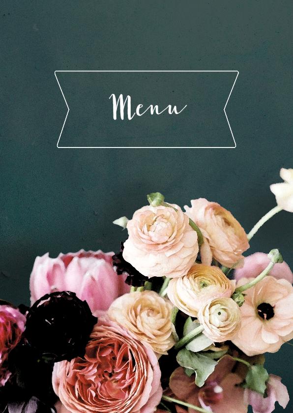 Trouwkaarten - Trouwmenu bloemen schilderstijl