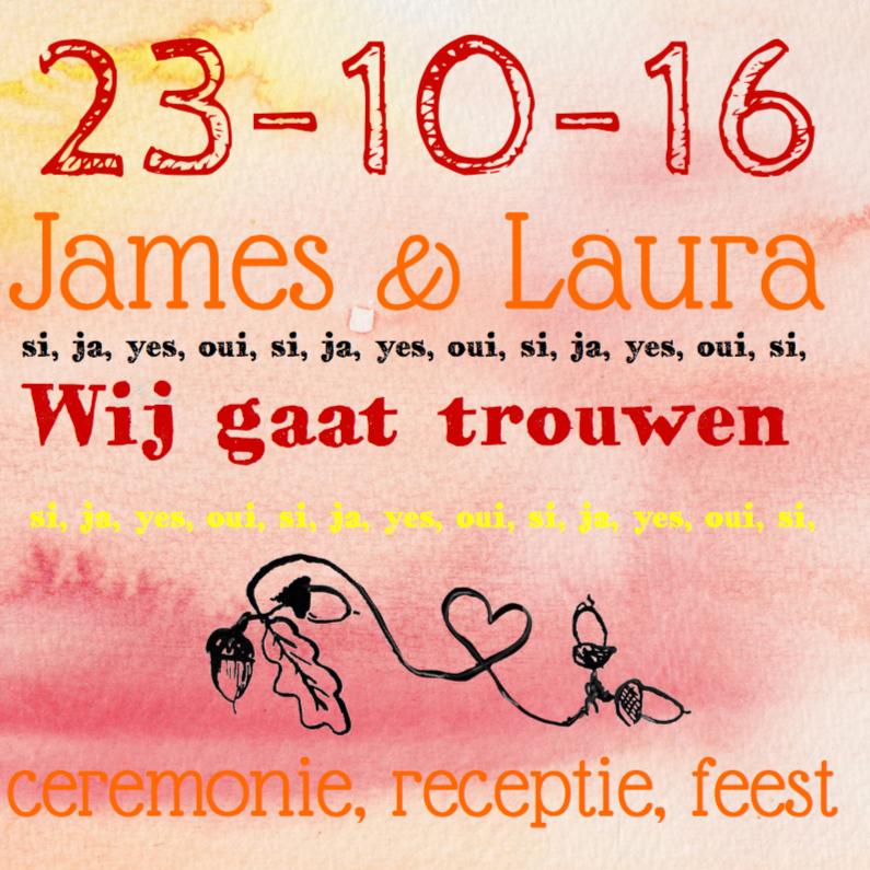 Trouwkaarten - Uitnodiging Bruiloft Herfst