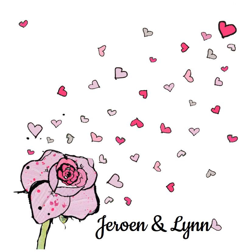 Trouwkaarten - Uitnodiging bruiloft roos hart