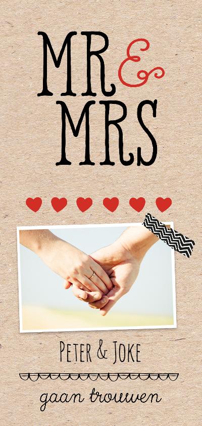 Trouwkaarten - Uitnodiging Huwelijk Mr&Mrs