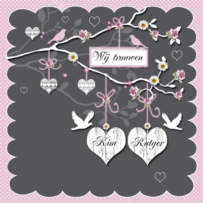 Trouwkaarten - Uitnodiging trouwen witte harten