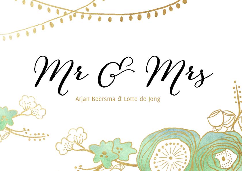 Trouwkaarten - Uitnodiging trouwkaart bruiloft tuin bloemen