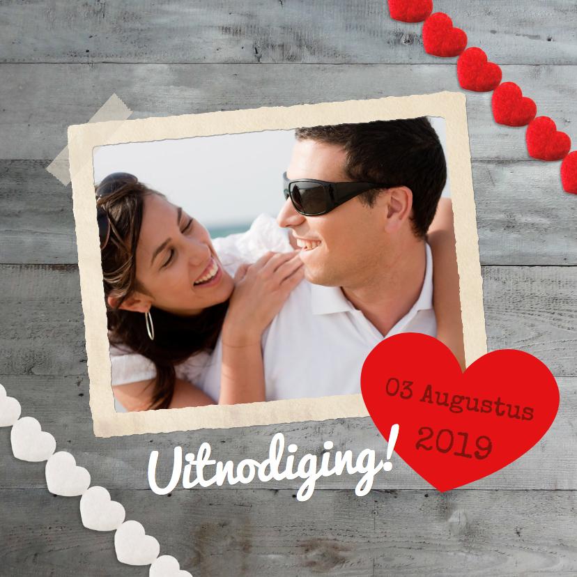 Trouwkaarten - Uitnodiging trouwkaart Hartjes