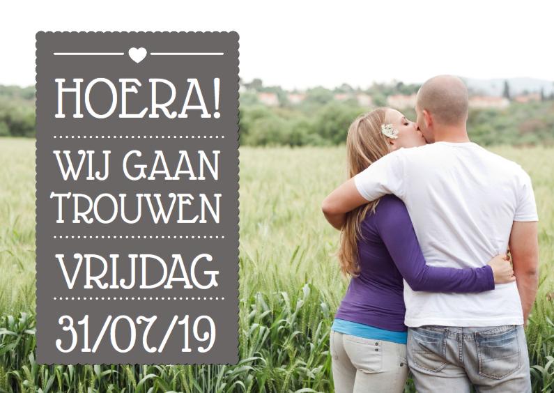 Trouwkaarten - Uitnodiging Vlak Grijs trouwen