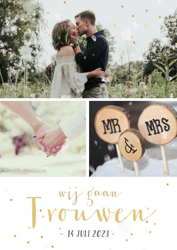Trouwkaarten - Uitnodigingskaart huwelijk fotocollage 3 foto's en confetti