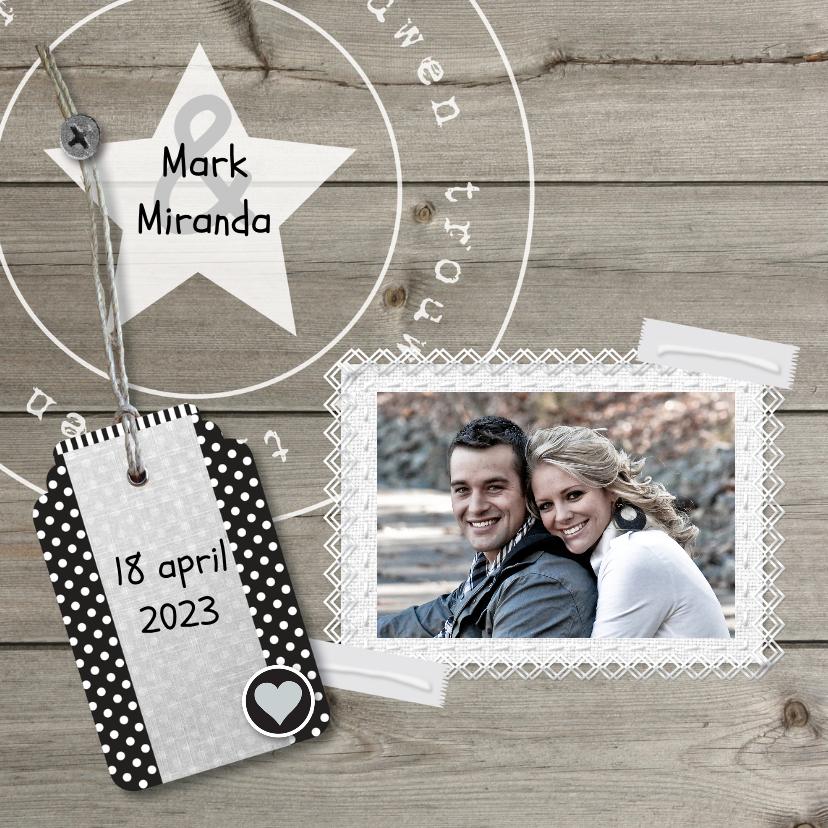 Trouwkaarten - Unieke foto trouwkaart hout met linnen print