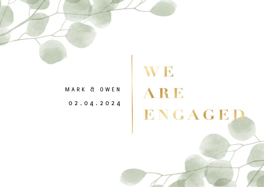 Trouwkaarten - Verlovingskaart waterverf eucalyptus gouden 'we are engaged'