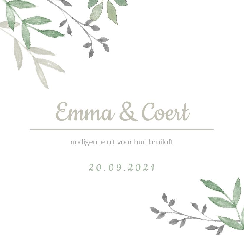 Trouwkaarten - Vierkante trouwkaart met groene takjes