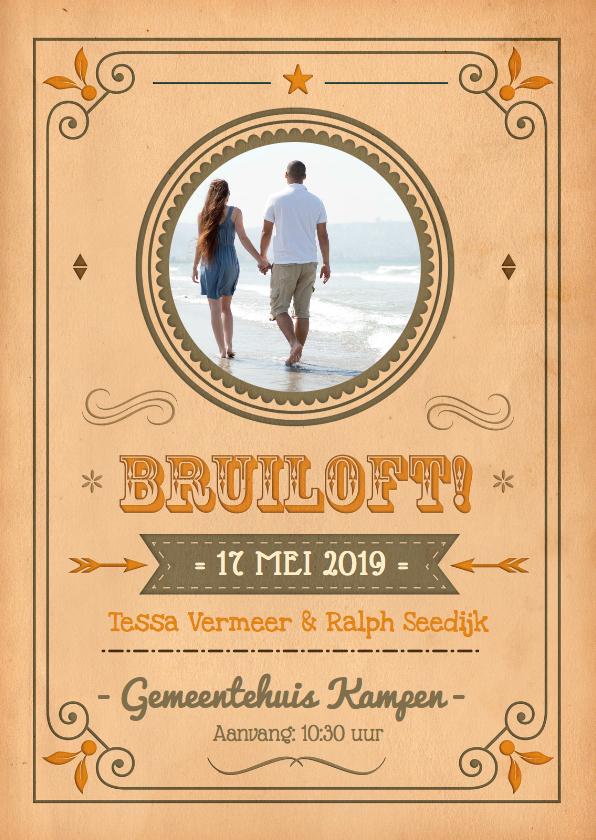 Trouwkaarten - Vintage Poster bruiloft 1LS3