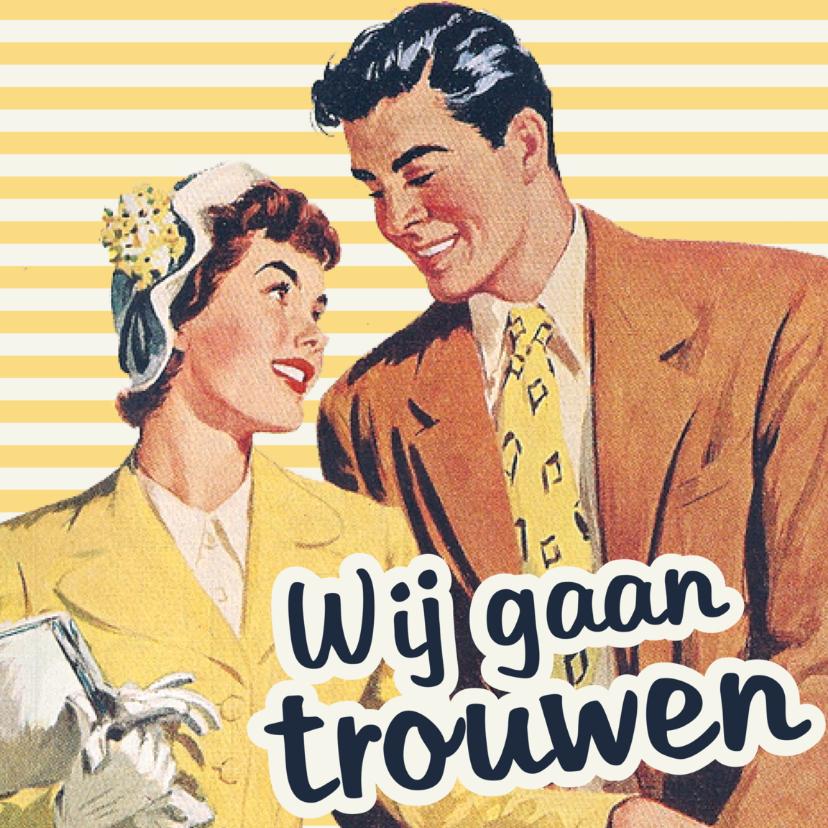 Trouwkaarten - Vintage Wij gaan trouwen