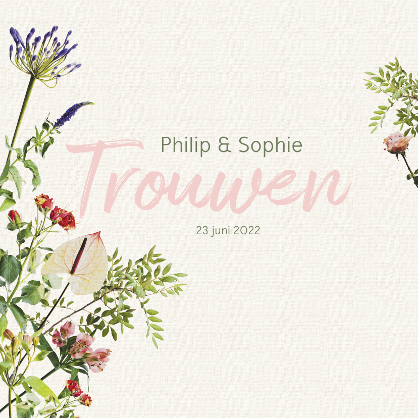 Trouwkaarten - Vrolijke bloemrijke trouwkaart