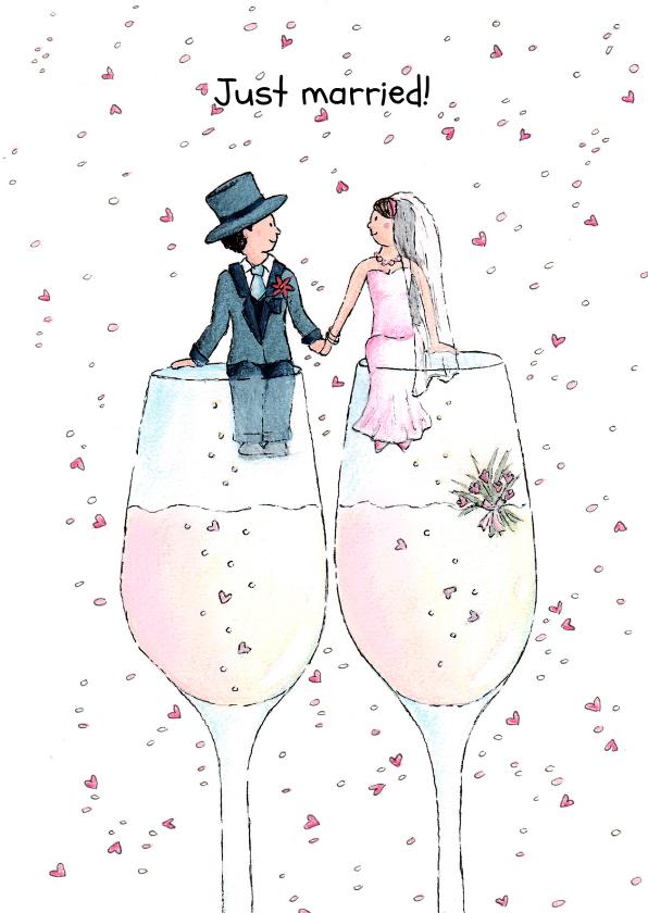 Trouwkaarten - Wedding-Champagne