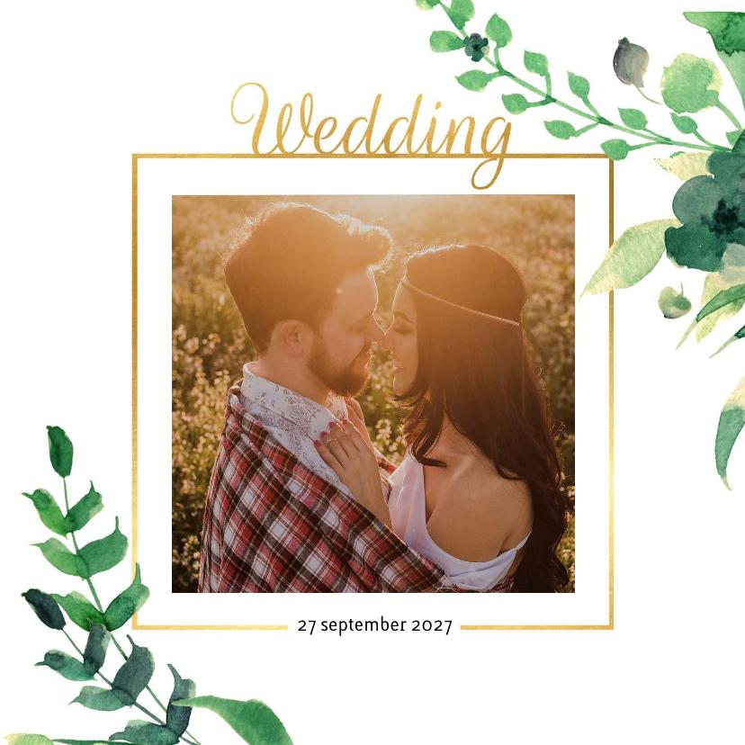 Trouwkaarten - Wedding Trouwkaart Stijlvol wit met goud