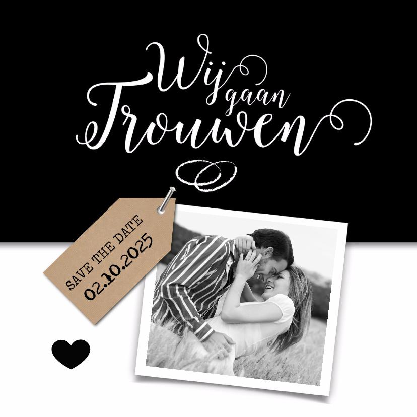 Trouwkaarten - Wij gaan trouwen met kraftlabel trouwkaart