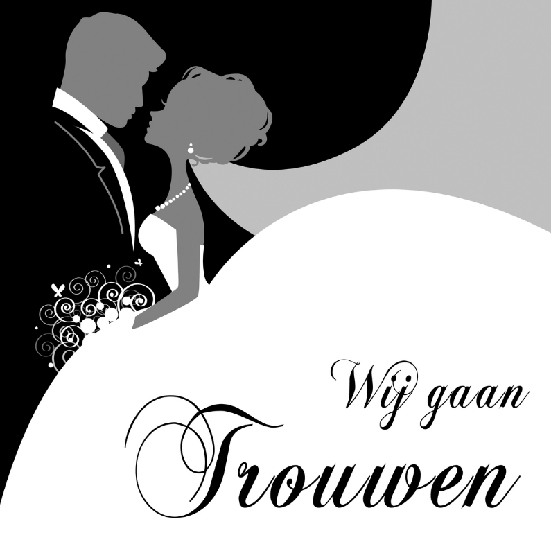 Trouwkaarten - Wij gaan trouwen zwartwit TT