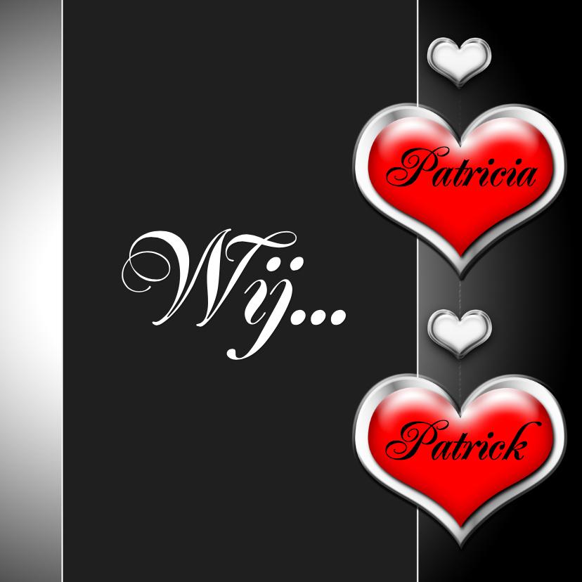 Trouwkaarten - Wij twee harten zelf invullen