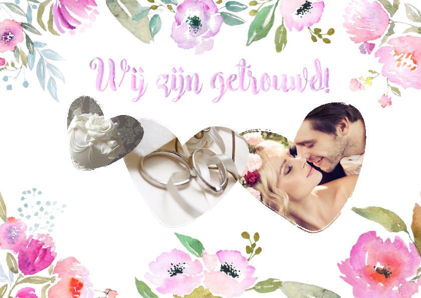 Trouwkaarten - Wij zijn getrouwd! Aquarel - BK