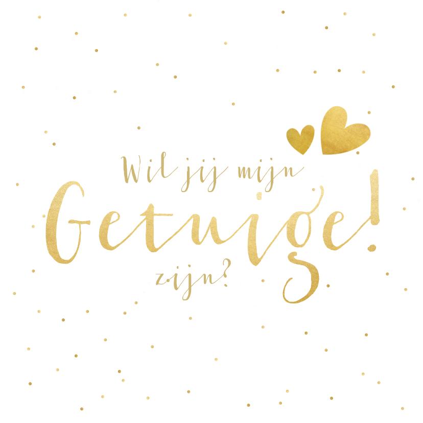 Trouwkaarten - Wil je mijn getuige zijn kaart met gouden tekst en confetti