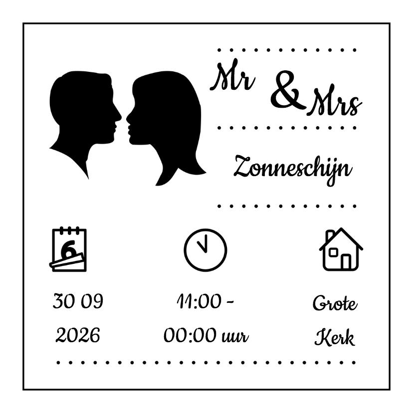 Trouwkaarten - Zwart wit silhouet trouwen - DH