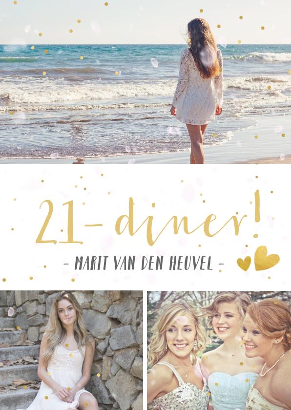Uitnodigingen - 21-diner uitnodiging fotocollage met 3 eigen foto's