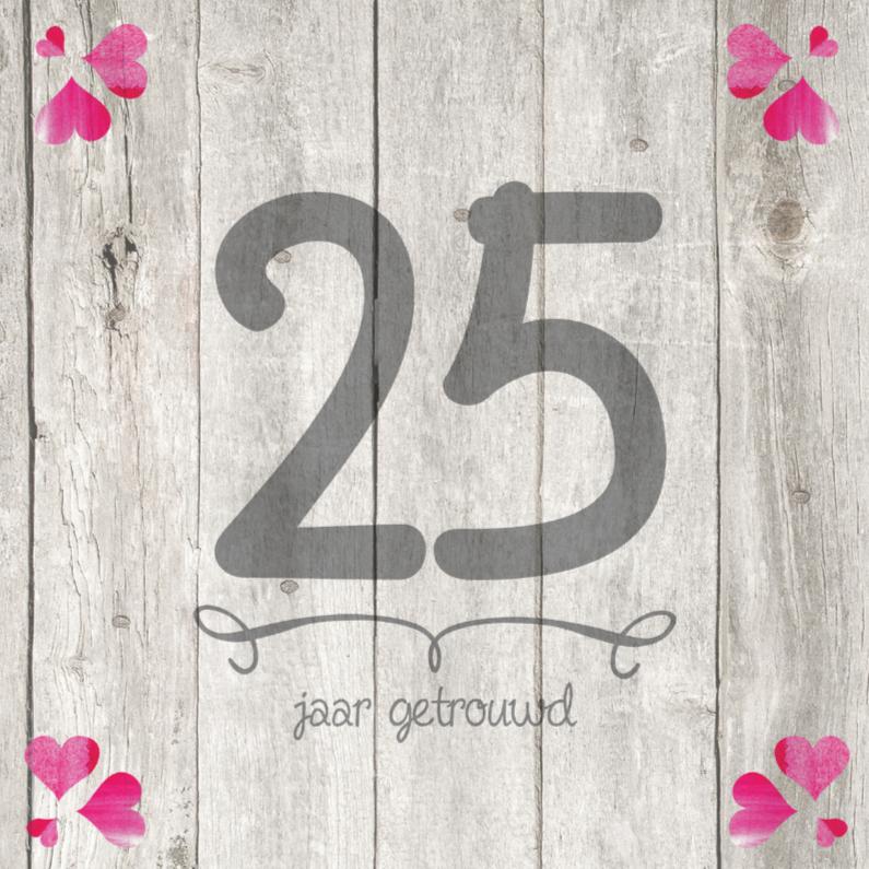 Uitnodigingen - 25 jaar huwelijk getal hout
