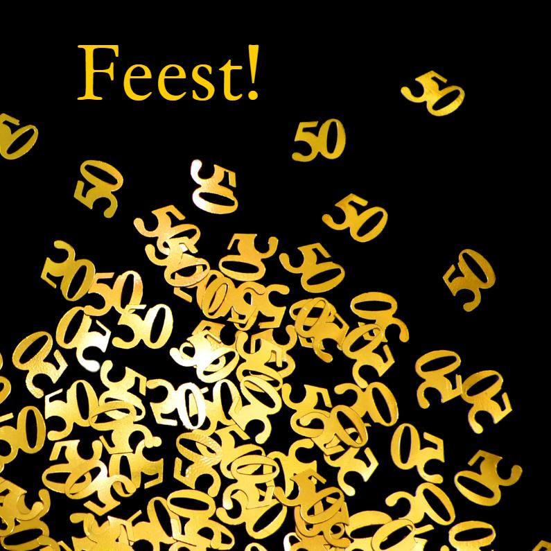 Uitnodigingen - 50 jaar confetti gouden jubileum