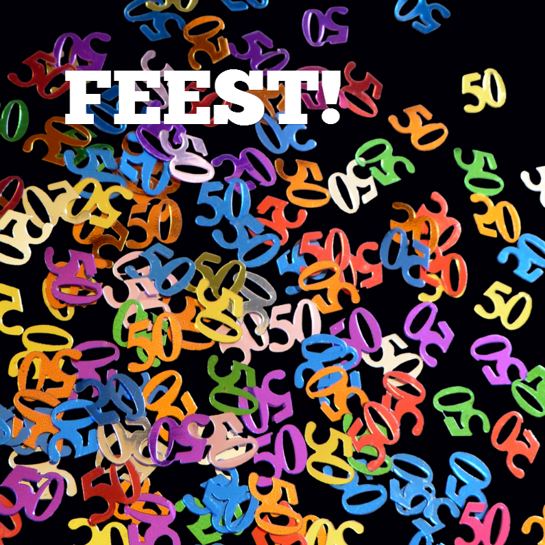 Uitnodigingen - 50 jaar confetti - kies uw achtergrond