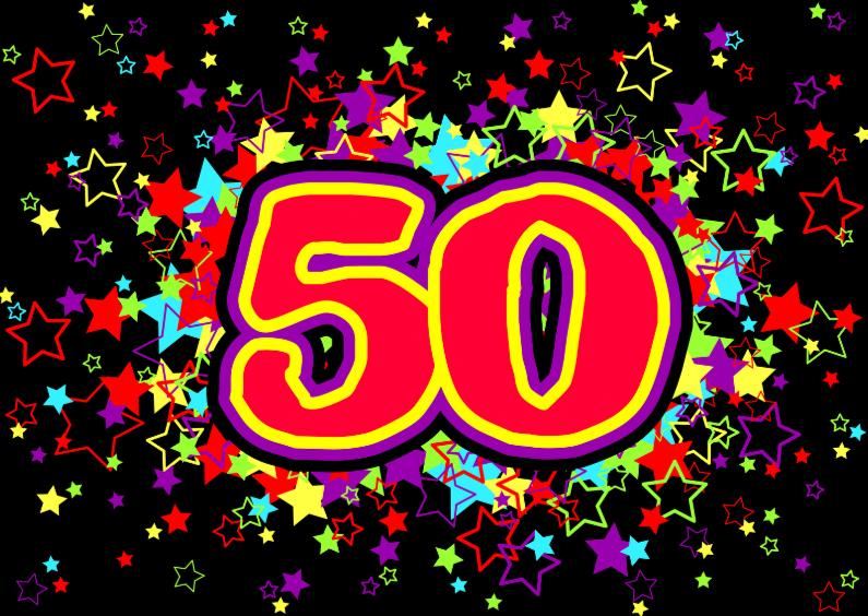 Uitnodigingen - 50 JAAR gekleurde sterren