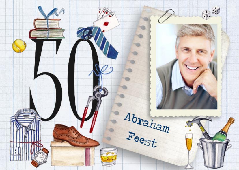 Verjaardagskaarten - Abaraham Uitnodiging 50 jaar Foto Man
