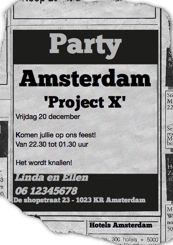 Uitnodigingen - advertentie Project X
